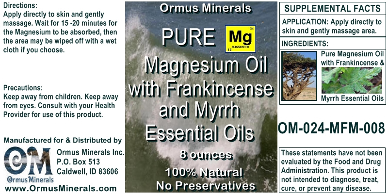 Ormus Minerals Pure Magnesium Oil with Frankincense & Myrrh Essential Oils