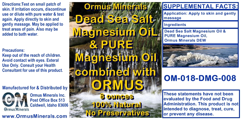 Ormus Minerals Dead Sea Salt Magnesium Oil & Pure Magnesium Oil combined with Ormus for Pain Relief