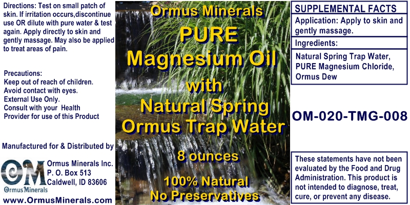 Ormus Minerals Pure Magnesium Oil with Natural Spring Ormus Trap Water for Pain Relief