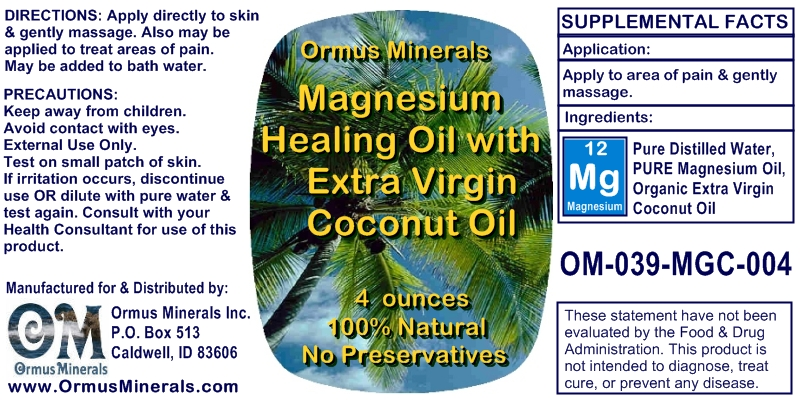 Ormus Minerals Magnesium Healing Oil with Organic Extra Virgin Coconut Oil for Pain Relief