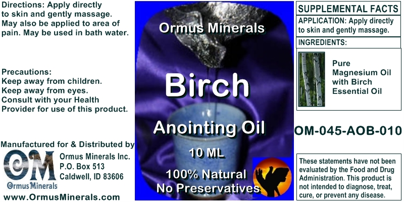 Ormus Minerals Birch Anointing Oil for Pain Relief