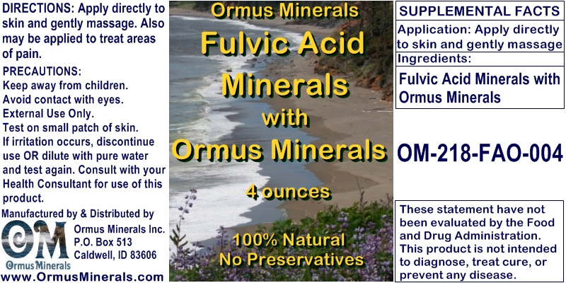 Ormus Minerals Fulvic Acid Minerals with Ormus Minerals - for Pain Relief