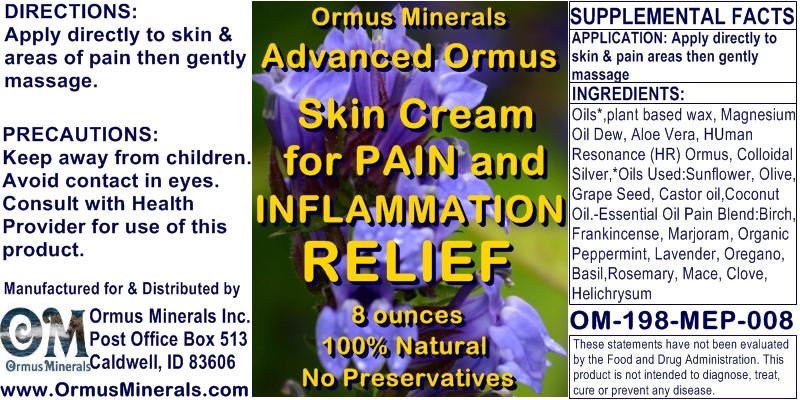 Ormus Minerals Advanced Ormus Skin Cream for Pain Relief