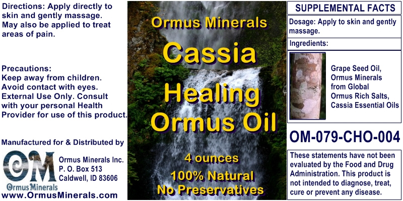 Ormus Minerals Cassia Healing Ormus Oil for Pain Relief