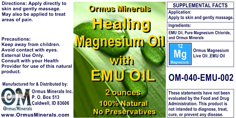 Ormus Minerals Healing Magnesium Oil with EMU Oil for Pain Relief