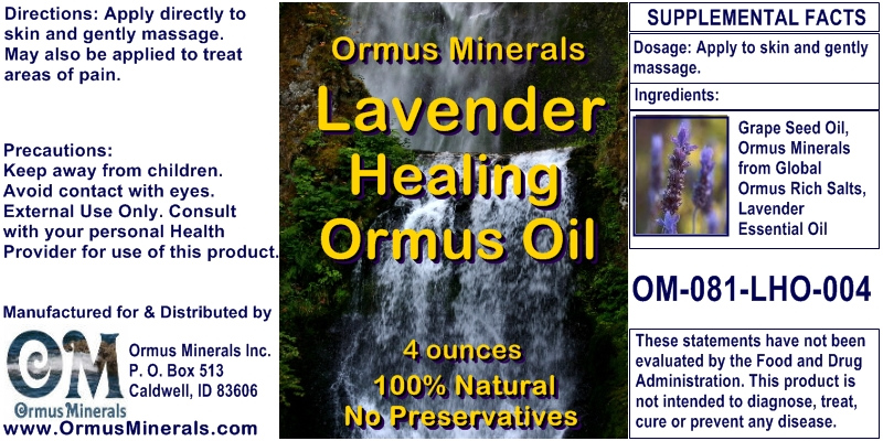 Ormus Minerals Lavender Healing ORMUS Oil for Pain Relief