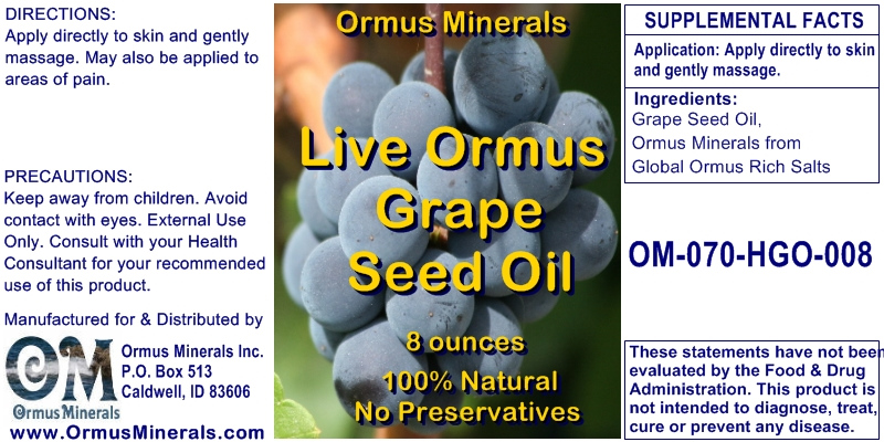 Ormus Minerals Live ORMUS Grape Seed OIl for Pain Relief