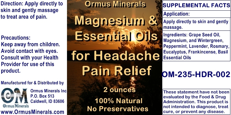 Ormus Minerals Magnesium Oil and Essential Oils for Headache Pain Relief