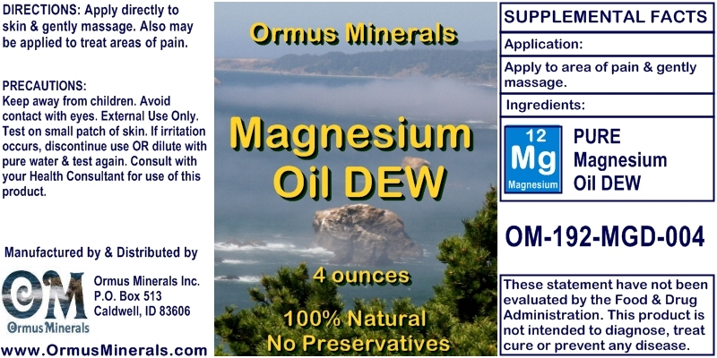 Ormus Minerals Magnesium Oil Dew for Pain Relief