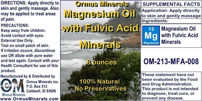 Ormus Minerals Magnesium Oil with Fulvic Acid Minerals for Pain Relief