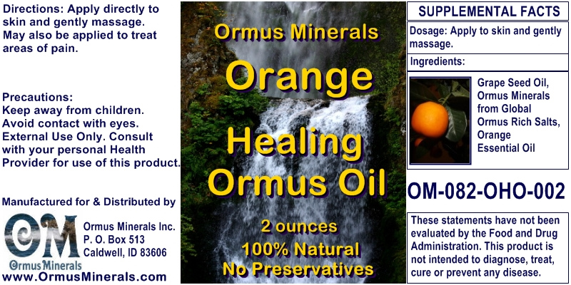 Ormus Minerals Orange Healing Ormus Oil for Pain Relief