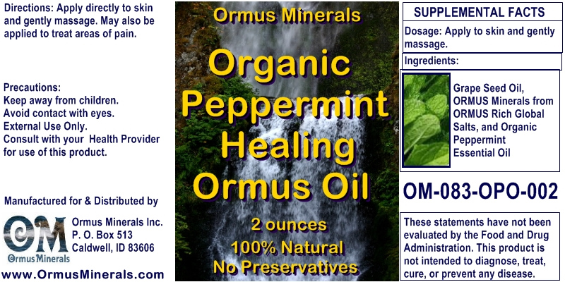 Ormus Minerals Organic Peppermint Healing Ormus Oil for Pain Relief