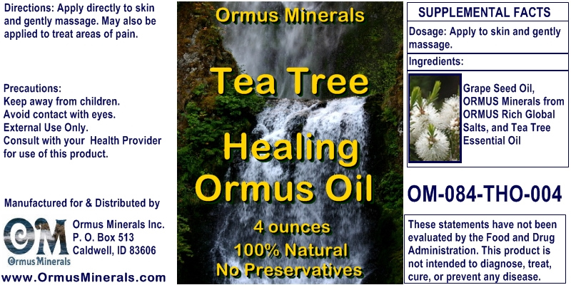 Ormus Minerals Tea Tree Healing Ormus Oil for Pain Relief