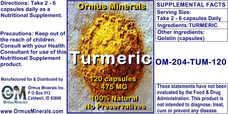 Ormus Minerals Turmeric for Pain Relief