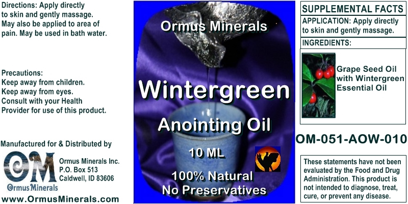 Ormus Minerals Wintergreen Anointing Oil for Pain Relief