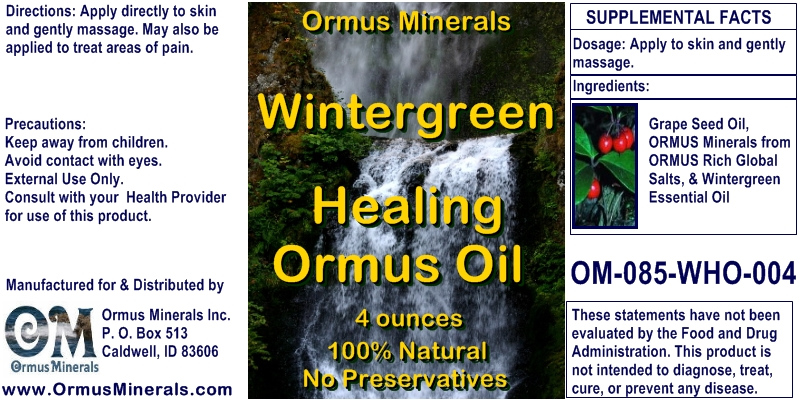 Ormus Minerals Wintergreen Healing Ormus Oil for Pain Relief